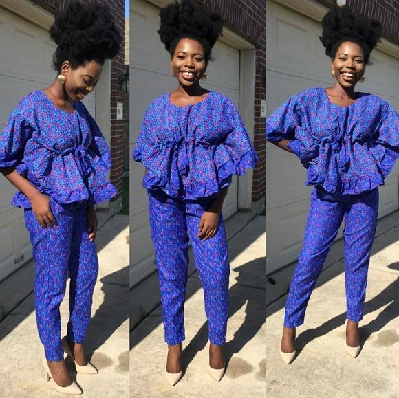 b8fee2d046 Women African print 2 pcs set of pants and top